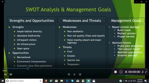 Thumbnail for entry SWOT Analysis & Management Goals