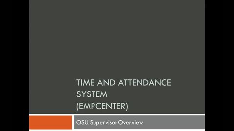 Thumbnail for entry Time and Attendance Supervisor Forum