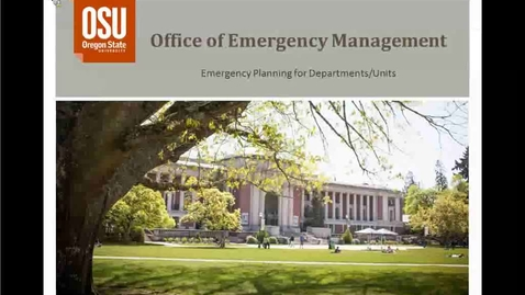 Thumbnail for entry Emergency Planning for Departments and Units