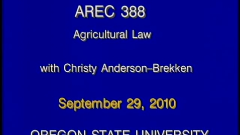 Thumbnail for entry AREC 388 Fall 2010 - Lecture 02