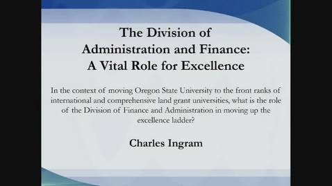 VP for Finance & Administration Candidate Forum - Charles Ingram
