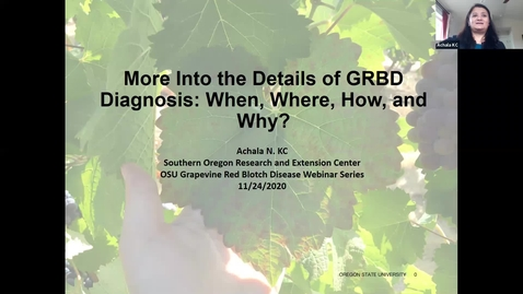 Thumbnail for entry Grape Red Blotch Disease Webinar - Dr. Achala KC