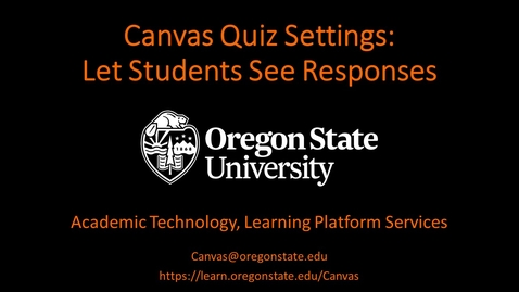 Thumbnail for entry Canvas Quiz Settings: See Responses