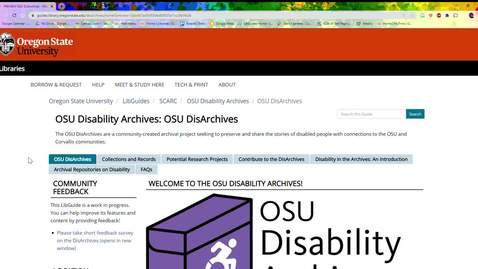Thumbnail for entry OSU Disability Archives LibGuide: A Quick Tour