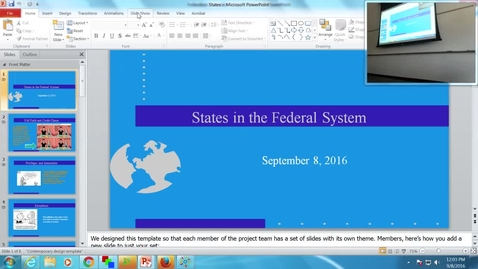 Thumbnail for entry States in the Federal System: Professor Tannahill's Lecture of September 8, 2016
