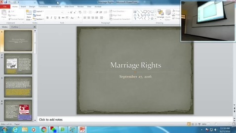 Thumbnail for entry Marriage Rights: Professor Tannahill's Lecture of September 27, 2016
