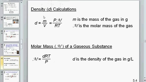 Thumbnail for entry density molar mass and stoichiometry of gases