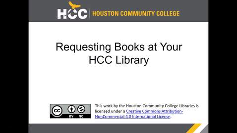 Thumbnail for entry Requesting Books at Your HCC Library