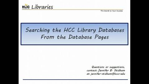 Thumbnail for entry Searching the HCC Library Databases From the Database Pages
