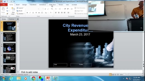 Thumbnail for entry City Revenues and Expenditures: Professor Tannahill's Lecture of March 23, 2017