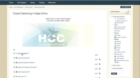 Thumbnail for entry Captions & Transcripts in Eagle Online - Quiz