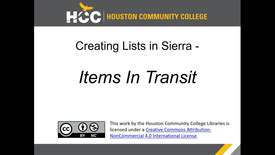 Thumbnail for entry Creating Lists in Sierra - Items in Transit