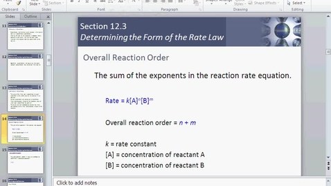 Thumbnail for entry Order of reactions and first and second order reactions