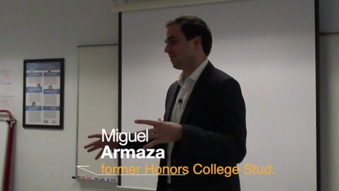 Thumbnail for entry Miguel Armaza Talks With Central Honors College Students