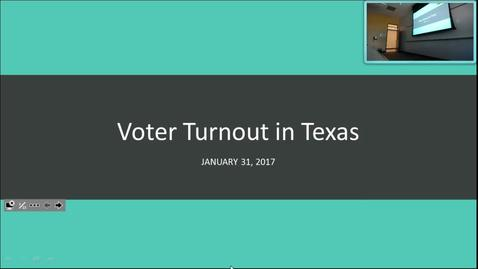 Thumbnail for entry Voter Turnout in Texas: Professor Tannahill's Lecture of January 31, 2017