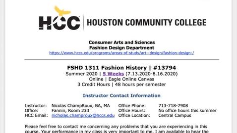 Thumbnail for entry Fashion History Summer 2020 - Syllabus Walk-Through