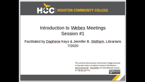 Thumbnail for entry Introduction to Webex Meetings - Session #1