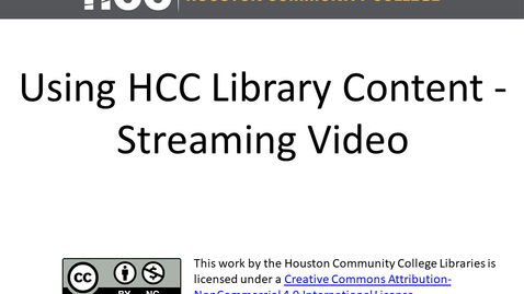 Thumbnail for entry Using Library Content- Adding Streaming Video to Your Course