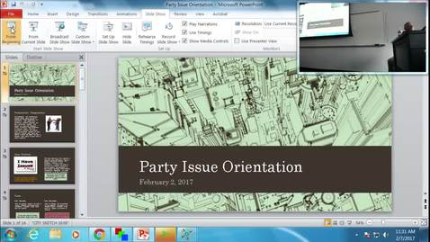 Thumbnail for entry Political Party Issue Orientation: Professor Tannahill's Lecture of February 7, 2017