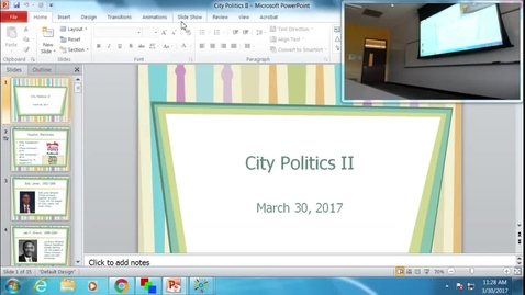 Thumbnail for entry City Politics II: Professor Tannahill's Lecture of March 28, 2017