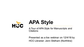 Thumbnail for entry HCC Library Webinar - APA Style