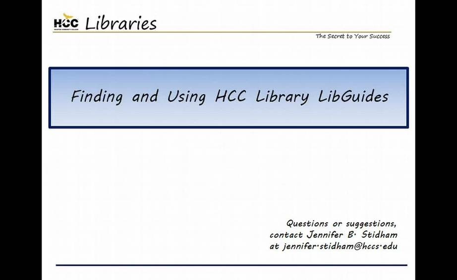 video thumbnail for finding and using hcc library libguides