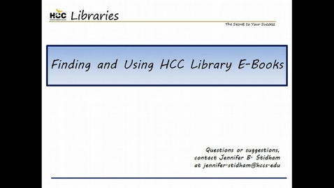 Thumbnail for entry Finding and Using HCC Library E-Books