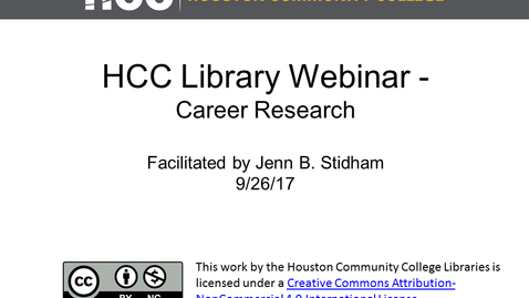 Thumbnail for entry Library Webinar- Career Research Session