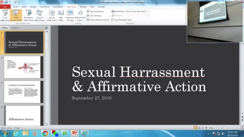 Thumbnail for entry Sexual Harassment and Affirmative Action: Professor Tannahill's Lecture of September 27, 2016