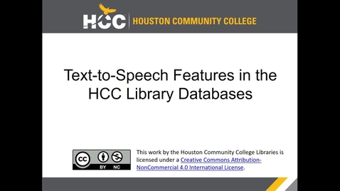 Thumbnail for entry Using HCC Library Databases to Find Materials With Text-to-Speech Capability