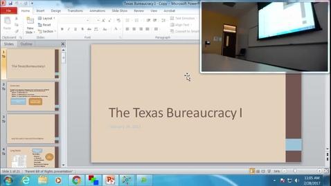 Thumbnail for entry Texas Bureaucracy I: Professor Tannahill's Lecture of February 28, 2017