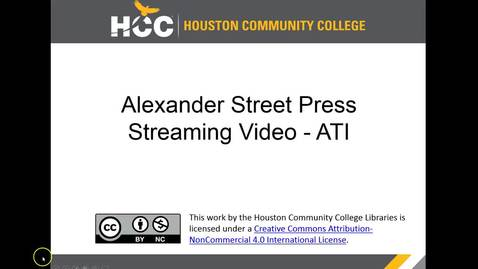 Thumbnail for entry HCC Libraries - Alexander Street Video LTI