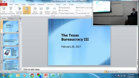 Thumbnail for entry Texas Bureaucracy III: Professor Tannahill's Lecture of February 28, 2017