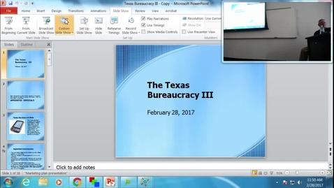 Thumbnail for entry Texas Bureaucracy III: Professor Tannahill's Lecture of February 28, 2017
