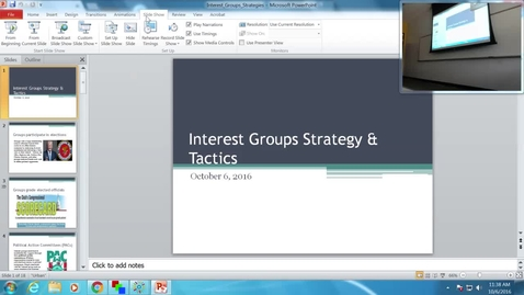 Thumbnail for entry Interest Group Strategy and Tactics: Professor Tannahill's Lecture of October 6, 2016