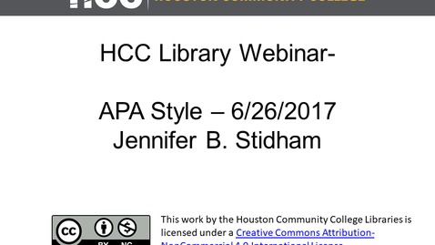 Thumbnail for entry HCC Library Webinar - APA Format