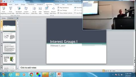 Thumbnail for entry Interest Groups I: Professor Tannahill's Lecture of February 9, 2017