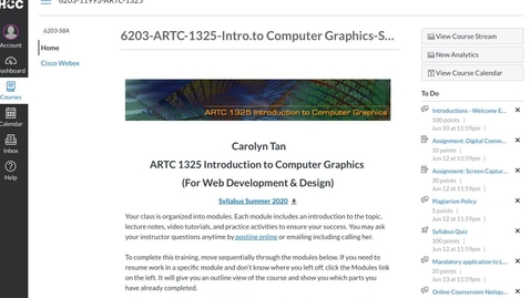 Thumbnail for entry ARTC 1325 Introduction to Computer Graphics (Summer 2020 - Overview)