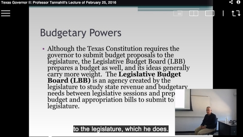 Thumbnail for entry Texas Governor II: Professor Tannahill's Lecture of February 25, 2016