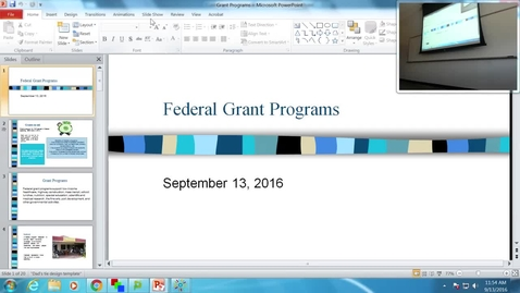 Thumbnail for entry Federal Grant Programs: Professor Tannahill's Lecture of September 13, 2016