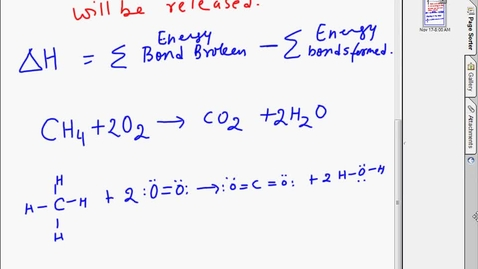 Thumbnail for entry Bond energy  and Enthalpy of reaction calculation for a reaction
