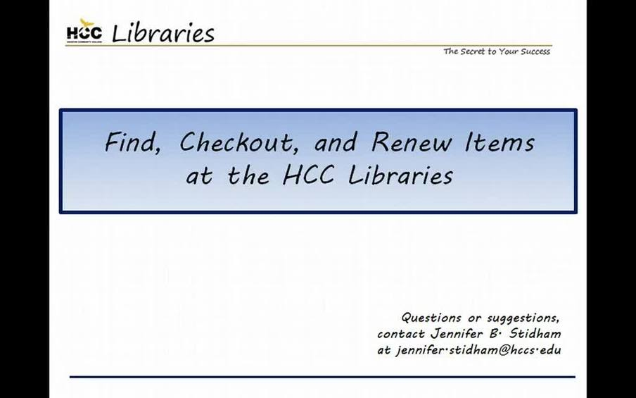 find checkout and renew items at the hcc libraries