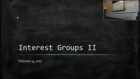 Thumbnail for entry Interest Groups II: Professor Tannahill's Lecture of February 9, 2017