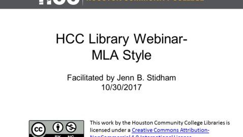 Thumbnail for entry HCC Library Webinar - MLA Format