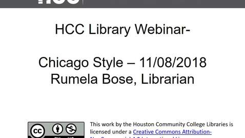 Thumbnail for entry HCC Library Webinar - Chicago Style