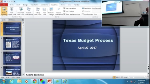 Thumbnail for entry Texas Budget Process: Professor Tannahill's Lecture of April 25, 2017