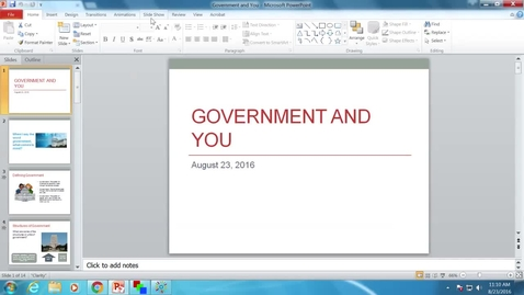 Thumbnail for entry Government and You: Professor Tannahill's Lecture of August 23, 2016