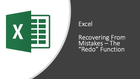 Thumbnail for entry Excel - Recovering From Mistakes