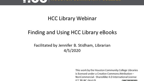 Thumbnail for entry HCC Library Webinar - Library eBooks