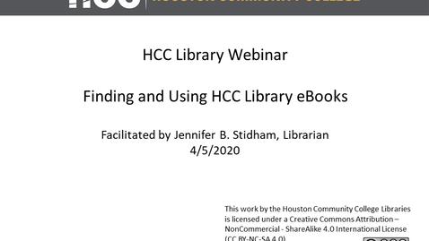 Thumbnail for entry HCC Library Webinar - Library eBooks